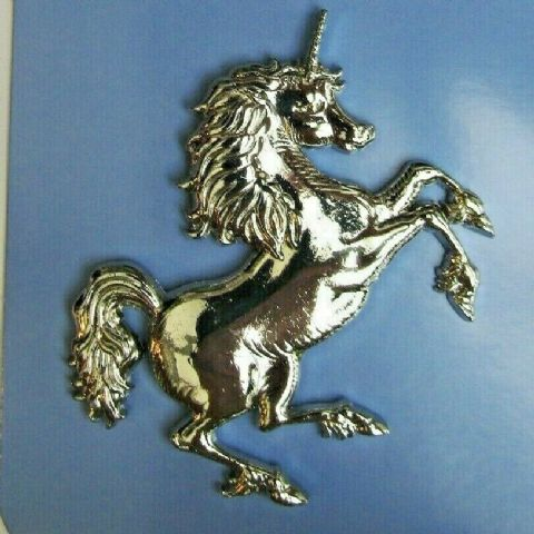 STUNNING SILVER METAL UNICORN 3D FRIDGE MAGNET